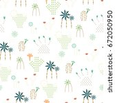 cactus seamless pattern vector... | Shutterstock .eps vector #672050950