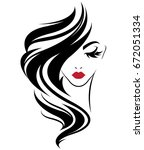illustration of women long hair ... | Shutterstock .eps vector #672051334