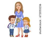 teacher and school kids. | Shutterstock .eps vector #672053236