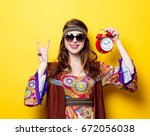 young hippie girl with... | Shutterstock . vector #672056038