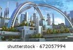 3d illustration of a futuristic ... | Shutterstock . vector #672057994