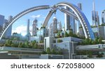 3d illustration of a futuristic ... | Shutterstock . vector #672058000