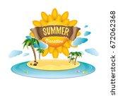 vector summer label with island ... | Shutterstock .eps vector #672062368