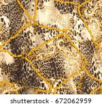 chain and leopard fashion... | Shutterstock . vector #672062959