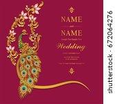 wedding invitation card... | Shutterstock .eps vector #672064276