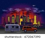 travelling car in modern city... | Shutterstock .eps vector #672067390