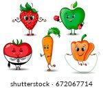 set of funny fruits  berries... | Shutterstock .eps vector #672067714