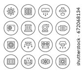 set round line icons of... | Shutterstock .eps vector #672068134