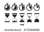 timer stopwatch and hourglass... | Shutterstock .eps vector #672068680