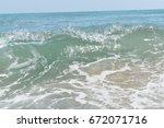black sea. sea waves. | Shutterstock . vector #672071716