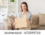 delivery  mail and people... | Shutterstock . vector #672095710