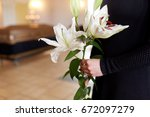people and mourning concept  ... | Shutterstock . vector #672097279