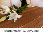 funeral and mourning concept  ...   Shutterstock . vector #672097300