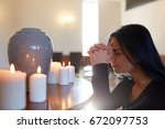people and mourning concept  ... | Shutterstock . vector #672097753