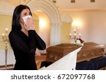 people and mourning concept  ...   Shutterstock . vector #672097768