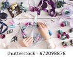 handmade headbands making  home ...   Shutterstock . vector #672098878