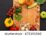 cooking healthy vegetarian food ... | Shutterstock . vector #672101560