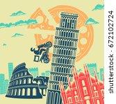 italy attractions vector... | Shutterstock .eps vector #672102724