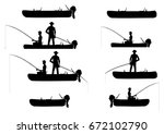 silhouettes of inflatable boats ... | Shutterstock .eps vector #672102790