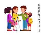 school friends girls  boys... | Shutterstock .eps vector #672102898