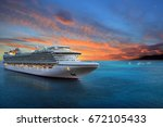Luxury Cruise Ship Sailing To...