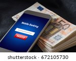 mobile banking hack and cyber... | Shutterstock . vector #672105730