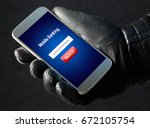 mobile banking hack and cyber... | Shutterstock . vector #672105754
