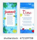 summer vacation. set of banner... | Shutterstock .eps vector #672109708