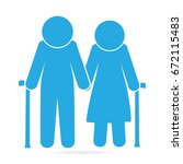elderly symbol. old people blue ...   Shutterstock .eps vector #672115483