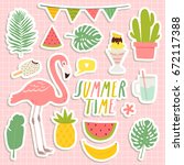 Stock vector set of cute summer stickers cute flamingo cacti palm leaves food and drink stickers design for 672117388