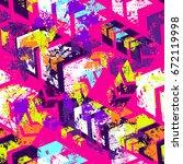 abstract seamless grunge... | Shutterstock .eps vector #672119998