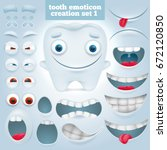 creation set of cartoon tooth...   Shutterstock .eps vector #672120850