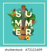summer typography. tropical... | Shutterstock .eps vector #672121609