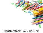close up view colorful back to... | Shutterstock . vector #672123370