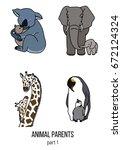 cute animals  part 1  parent...   Shutterstock .eps vector #672124324