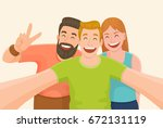 group of three friends taking a ... | Shutterstock .eps vector #672131119