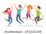isolated young people jumping.... | Shutterstock .eps vector #672131143