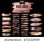 grunge rose gold ink brush... | Shutterstock .eps vector #672133939