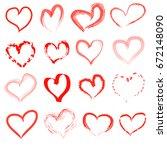 hand drawn hearts | Shutterstock .eps vector #672148090