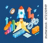 business startup isometric... | Shutterstock .eps vector #672150949