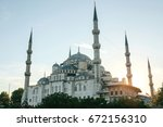 the world famous blue mosque in ... | Shutterstock . vector #672156310