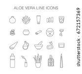 thin line web icon set   aloe... | Shutterstock .eps vector #672157369