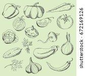 set of vegetables  sweet pepper ... | Shutterstock .eps vector #672169126
