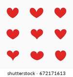 set of red hearts icons. vector ... | Shutterstock .eps vector #672171613