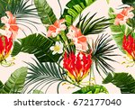 beautiful seamless vector... | Shutterstock .eps vector #672177040