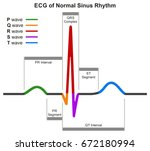 ecg of normal sinus rhythm... | Shutterstock .eps vector #672180994