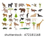 animals of the world  a... | Shutterstock .eps vector #672181168