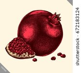 engrave isolated pomegranate... | Shutterstock .eps vector #672183124
