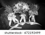 bride and bridesmaid's wedding... | Shutterstock . vector #672192499