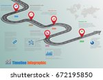 design template  road map... | Shutterstock .eps vector #672195850